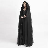 Wholesale Hooded Lace Capes Mantle Cloak Gothic Flower Pattern Velvet Fabric Big Cape Coats for Women Halloween Costumes Y