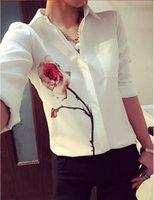 Wholesale New Blusas Ladies OL Elegant Women Summer Tops Lapel Collar Floral Print Chiffon Shirt Blouse