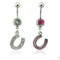 Wholesale Body Piercing Fashion Belly Button Rings L Stainless Steel Dangle Color Rhinestone Letter U Navel Rings Jewelry