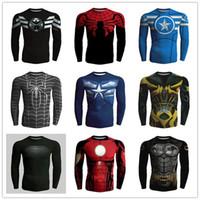 alliance gold - 3D Man s T Shirts Long Sleeve High Elastic Fast Dry Tops Batman Spider Man Avengers Alliance Super Hero Shirts Sport Riding Outdoor Tops