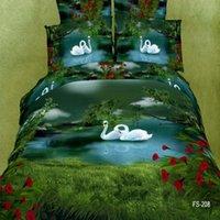 Wholesale Comforter Wedding Twill - Retail 100% cotton High density Twill 4pcs Bedding set 3D effect Reactive printed Swan Lake wedding Quilt duvet cover set B2010