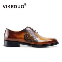 berluti men shoes - VIKEDUO Newest flat shoes mens Oxford Shoes brown luxury wedding party Dress shoes Genuine leatherGOODYEARS Second Only To Berluti