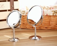 bathroom side mirrors - Sale Stainless Steel Holder Magnification Cosmetic Bathroom Double Sided Mirror Desk Makeup Top Quality WA0067