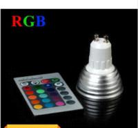 Focos de colores España-Venta al por mayor 9W RGB LED Spotlight GU10 E27 // E14 / MR16 16 color de la luz LED de alta tecnología punto de la lámpara + mando a distancia IR del envío libre