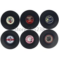 Wholesale Pack of Rockin Spinning Hat Rockabilly Vinyl Coasters Mutlifunction Drinking Cup Mat