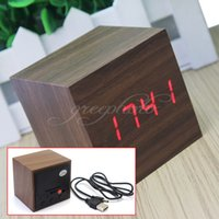Wholesale sound muffler Brown Wooden Cube Digital Red LED Mini Alarm Clock Thermometer Sound Activate clock radio nature sounds