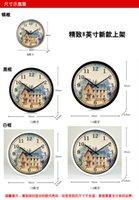 architecture styles - European style decorative garden architecture art room wall clock Retro Clock mute quartz watch