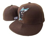 adult florida - MLB Florida Marlins Baseball Cap Front Logo Alternate Fitted Hat wicks away sweat Adult Sport Fit Cap