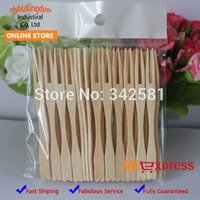 Wholesale 100x Bamboo Disposable Dessert Wooden Party Event Tableware Cutlery Fruit Forks Food Picks for Wedding