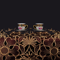 table cloths - 2016 new arrivals Elegant Polyester Satin Jacquard Embroidery Floral Tablecloths Cutwork by Hand Embroidered Table Cloth Model Number TSR004