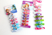 Wholesale Free DHL Cartoon Frozen Anna Elsa Hairbows hair ring Kids Girl Children s hair rope hairband children s hair bands