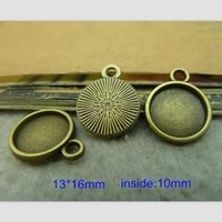 Wholesale 100 Antique Bronze Base Settings For mm Cabochon Cameo Vintage Round Pendant Trays Jewelry Findings