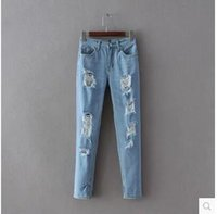 Wholesale Spring summer new women s cultivate one s morality show thin joker water hole feet pants jeans pants