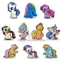 add figures - New arrival My little ponies kawaii Cartoon PVC badges Brooches add to shoe and bags Popular kids party gifts