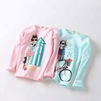 Wholesale 2016 kids clothing kids clothes autumn new Girl s cartoon round collar T shirt long sleeved T shirt unlined upper garment render tong