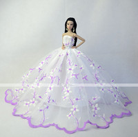 Wholesale inch Doll Light Purple and White Color Wedding Organza Lace Costumes Doll Dresses