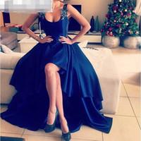 Cheap Dark Blue High Low A line Ruffle Prom Dress 2016 Vestidos De Crew Neck Applique Arabic Evening Dress Sexy Backless Dubai Party Dress