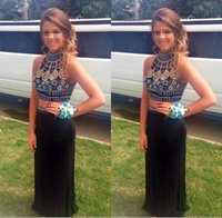 art section - High Neck Crystal Two Pieces African Prom Party Dresses Long Mid Section Evening Gowns Formal Wear Plus Size