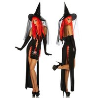 Wholesale Charming New Sexy Witches Fancy Dress Halter Sleeveless Lace Up Design Gothic Witch Sorceress Halloween Party Costume M XL W8910