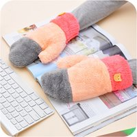 Wholesale Korean cute rainbow coral fleece gloves color Fingerless Gloves refers to all the female winter thick warm gloves