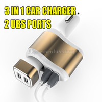 apple usb splitter - Dual USB Ports Car Charger A Micro Auto Power Adapter Nipple Metal in Cigarette Lighter Socket Splitter with Retail Box for Cellphone