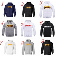 Wholesale 2016 Hip Hop Thrasher The Flame Print Men Women Sportswear Hooded Sweatshirts Pullover Hoodies High Quality Thrasher Hoodies Sport Suit