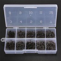 Wholesale 500pcs Total Sizes Fresh Water Sea Fly Fish Fishing Tackle Hooks with Box Black order lt no track