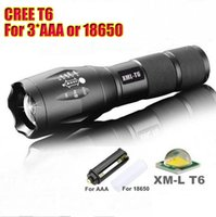 Wholesale CREE XM L T6 Led Flashlight Lumens Led Torch Zoomable Waterproof Tactical Flashlight for xAAA or x18650 Camping Hiking B244