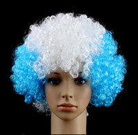 afro world hair - World cup Color Party wigs Cheerleaders wig fans Rainbow Afro Clown Costume Football Fan Wig Hair