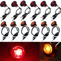 benz trailer - 12x Amber Red Round Bullet Clearance Side Marker Truck Trailer Mini LED Lights