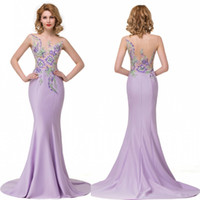 Wholesale 2016 New Designer Lilac Mother Dresses Sheer Jewel Neck Appliqued Embroidery Long Satin Mother Dresses Evening Party Formal Gowns BZP0912