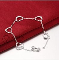 Wholesale European and American fashion exquisite sterling silver heart shaped bracelet ladies LKNSPCH213