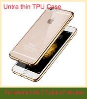 Luxe ultra mince cristal clair plaques de caoutchouc galvanoplastie TPU Soft Case pour Iphone 7 7 plus 6 6s S6 S7 bord Mobile Phone Bag couverture
