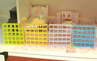baby furniture bookcase - G05 X417 children baby gift Toy Dollhouse mini Furniture Miniature rement Lattice bookcase yellow blue white