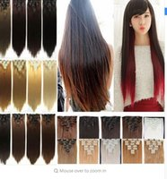 Wholesale 23 quot quot Straight Full Head Hair Extensions Clip in Hair Extension Clips on Hair Piece Real Natural Synthetic Hair