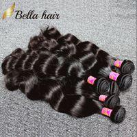 venda por atacado indian hair-O cabelo brasileiro tece trajes UNPROCESSED do cabelo humano do Virgin Extensões peruanas do cabelo da malásia do Indian 3pcDouble Weft BodywaveBundles Bellahair