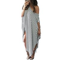 beach wear clothes - 2016 Women Clothing Summer Dress Long Maxi Loose Dress Striped Batwing Sleeve Off shoulder Split Casual Beach Wear Plus Size Vestidos EG806