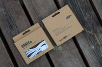 Wholesale fashion style brown kraft paper empty retail box for micro cable iphone s s ios pin data cord charger line