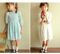 Wholesale Cute Dress Korea Girl - 2016 Summer Girl Dresses Lovely Fashion Lace Dresses Patchwork Kids Long Sleeves Clothing Dress Korea Princess Cute Party Gowns