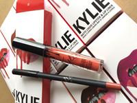 Wholesale 60pcs KYLIE JENNER LIP KIT colors Kylie Lip Velvetine Liquid Matte Lipstick lipliner in Red Velvet Makeup Lip Gloss