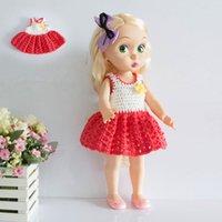 Wholesale 3PCS Sharon Doll Dress Princess Dress inches Dolls Clothes DIY Handmade Hook Flower One piece Dress Accessories Girls Gifts