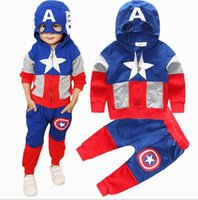 Wholesale Spring Autumn Boy Long Sleeve Hooded T Shirts Pants Suits Onefits Children Kids Baby Captain America Cotton Hoodie Trousers Clothing Sets