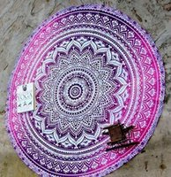 Wholesale Summer CM Round Beach Towel Bohemian Style Chiffon Polyester Fabric shawl cm Beach Towels Round Printed Serviette Covers