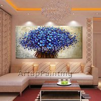 Cheap Flower Hand Painted wall Picture quadros palette knife abstract oil painting canvas Art modern Home cuadros decorate living room