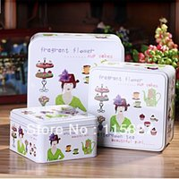 afternoon tea japan - New Beauty lady Afternoon Tea printing set metal storage case candy can iron container storage box Iron Box