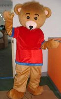 athletic dress shirts - 2016 newBrown Bear Mascot Red T Shirt Bear Costumes Cartoon Mascot Halloween Mascot Outfit Fancy Dress