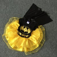 batman characters costumes - Halloween Clothes Boutique Girls Batman Pattern Dresses Black And Yellow Patchwork Party Tutu Costume Baby Kids Cosplay Wear G NBGD908