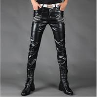 Wholesale Plus size men s autumn winter black slim men leather pants male singers DJ stage Trousers costume men s fashion ds dance