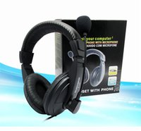 abs internet - Wholsale hot Head mounted Computer wired headset Internet bar necessary ABS leather soft earphone mic s stereo headphone