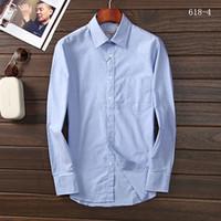 Wholesale New Fashion Spring Classic Men Striped Dress Shirt Long Sleeve Turn down Collar Regular Fit Mens Shirts Designer Clothes